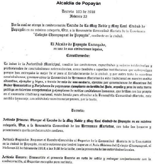 CONDECORACIONES DE LA ALCALDIA DE POPAYAN A LA COMUNIDAD MARISTA